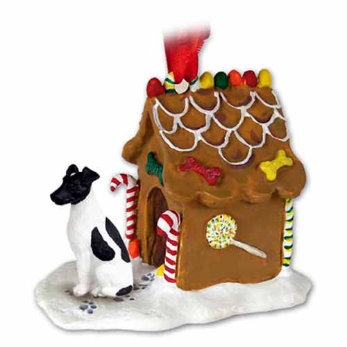 Smooth Fox Terrier Gingerbread House Christmas Ornament Black-White - DELIGHTFUL! ()