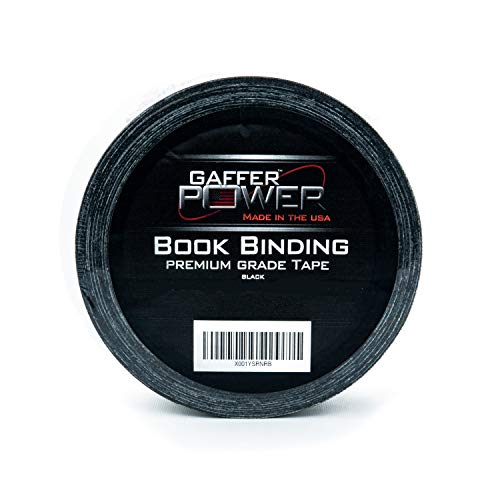 (Bookbinding Tape by Gaffer Power, Black Cloth Book Repair Tape Safe Cloth Library Book Hinging Repair Tape, Made in The USA, Acid Free and Archival Safe)