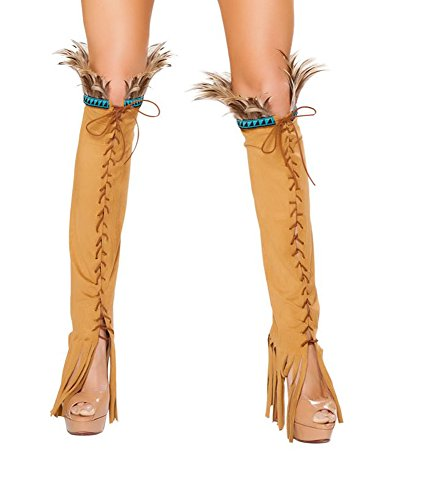 Roma Costume Halloween Party Women's Lace up Suede Leg Warmer with Feather and Fringe Detail Honey - One Size