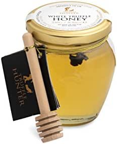 TruffleHunter Real White Spring Truffle (Tuber Borchii) Acacia Honey with Dipper (8.46 Oz) - Gourmet Food Condiments Infused Cooking Marinade - Vegetarian, Kosher, Non Dairy, Gluten & Nut Free