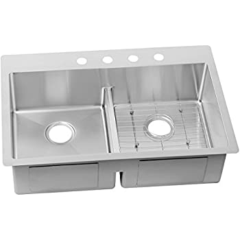 Elkay Crosstown ECTSRA33229BG4 Equal Double Bowl Dual Mount Stainless Steel  Kitchen Sink Kit With Aqua Divide