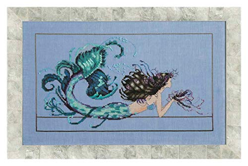 Aida Fat Quarter - Mirabilia Designs Mermaid Undine AIDA Kit Beaded Counted Cross Stitch by Nora Corbett MD134 (Bundle: Chart, Fabric, Beads, Silk Floss)