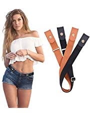2 Pack No Buckle Belt No Show Belt for Men Buckle Free Stretch Invisible Belt for Jeans Pants Shorts 1.18 Inches Wide