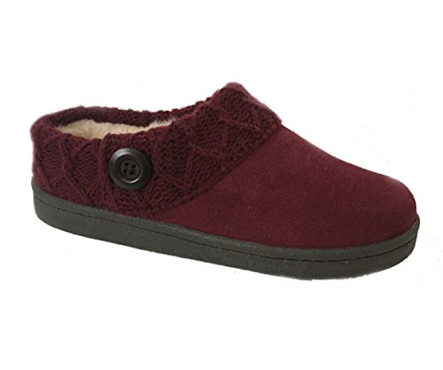 (Clarks Womens Suede Hoodback Slipper with Sweater Knit Collar and Faux Fur Lining (7 M US, Cabernet))