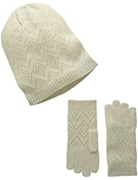 Women's Cashmere Knit Pointelle Hat and Glove 2 Piece Set