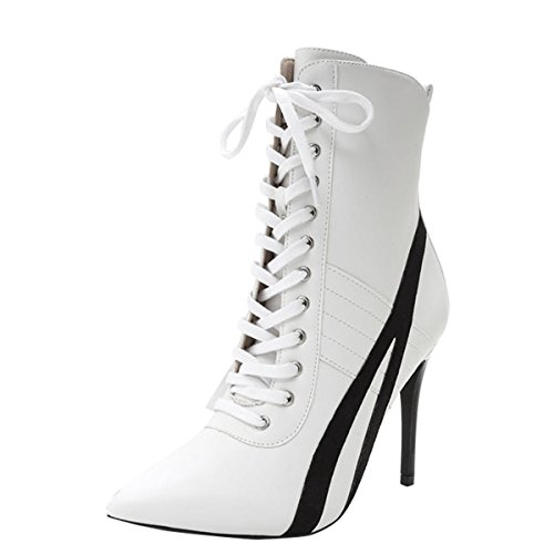 White Stiletto High Heel Shoes - Wild Diva Womens Pointed Toe Lace up High Stiletto Heel Ankle Booties Sneaker Boot 9 White