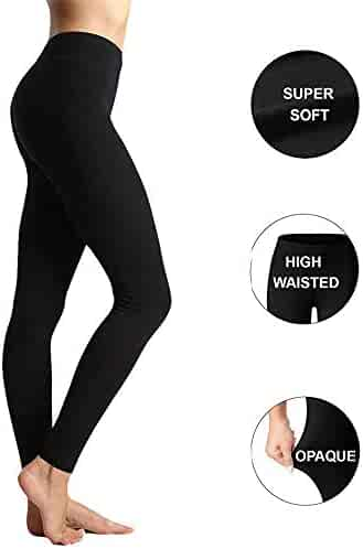 03bd009994224 Womens High Waisted Yoga Leggings -One/Plus Size -Super Soft Full Length  Opaque