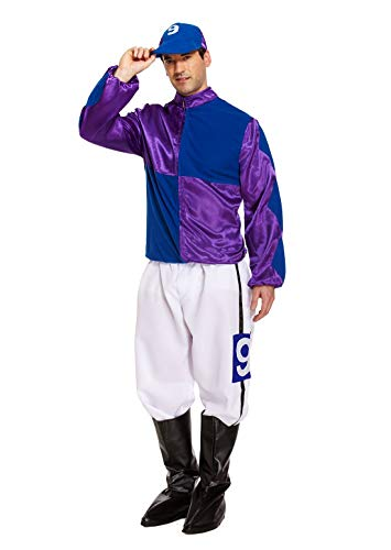 Rimi Hanger Adult Hard Rider Horse Jockey Mens Fancy Dress Stag Party Costume Outfit Purple/Blue]()