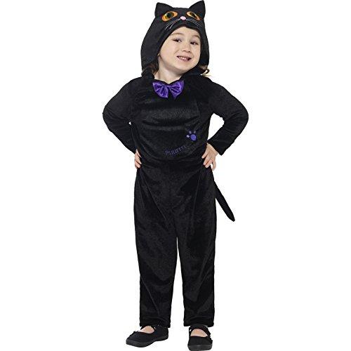Smiffys Déguisement Enfant, Chat, Avec combinaison à capuche et yeux imprimés, Âge 3-4 ans, Couleur: Noir, 21497