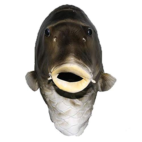 Realistic Fish Head Latex Mask Animal Full Overhead Costume Halloween Cosplay Party Fancy Dress Gray]()