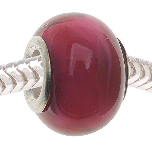 Style Glass Lampwork Pandora Compatible Beads, 14mm, Raspberry Cream Pink (Fuchsia Glass Beads)