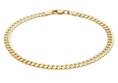 """100or jaune 9ct Coupe Diamant Plat Chaîne gourmette bracelet 19CM/7,5"""""""