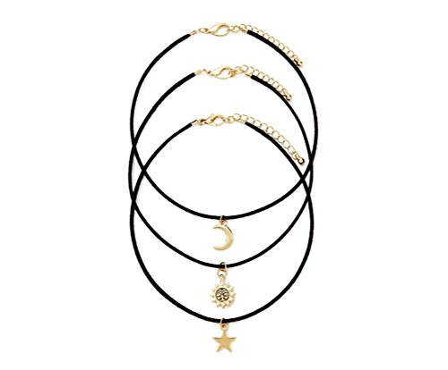 "Gintan Black Flocking Choker Necklace with Sun/Star/Moon Pendant, 12"" + 3"" Extender (Pack of 3)"
