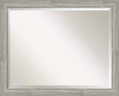(Amanti Art Vanity Bathroom Dove Greywash Narrow Frame   Wall Mounted Mirror, Glass Size)