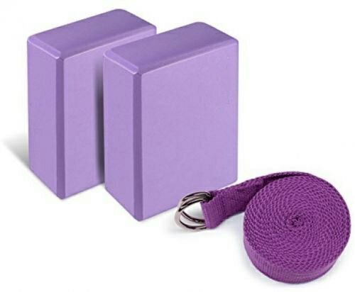 Yoga Foam Blocks (Set of 2) plus strap with Metal D-Ring - Standard Studio Size 9'' x 6'' x 4'' by small homeware