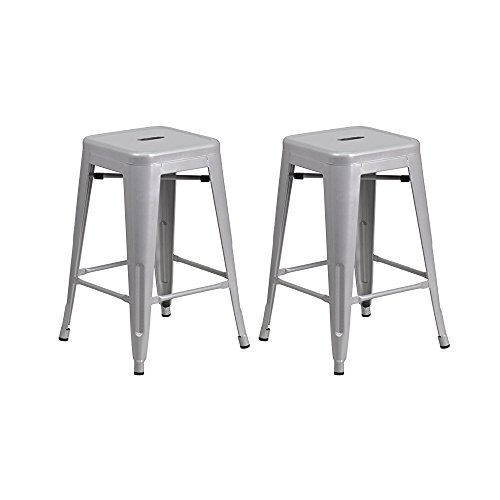 Vogue Furniture Direct 24″ High Barstools Backless Silver Metal barstool Indoor-oudoor Counter Height Stool with Square Seat, Set of 2 – VF1571021