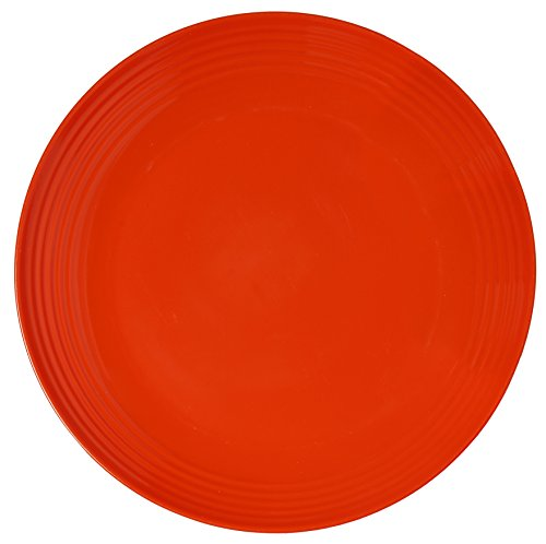 Melange 6-Piece  Melamine Dinner Plate Set (Solids Collection ) | Shatter-Proof and Chip-Resistant Melamine Dinner Plates | Color: Orange