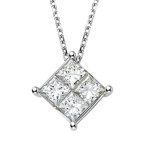 Gnzoe Jewelry 18K White Gold Women Pendant Necklace Princess Cut 4 Pcs Diamond White 0.4ct Wedding Gift by Gnzoe