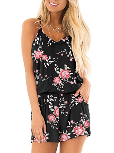 REORIA Womens Casual Summer One Piece Sleeveless Spaghetti Strap Short Boho Boho Playsuits Floral Printed Jumpsuits Beach Rompers Black Small -