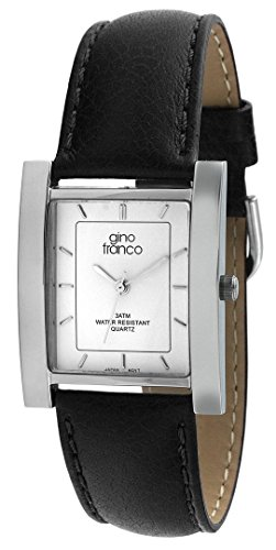 gino franco Men's 924BK Square Stainless Steel Genuine Leather Strap ()