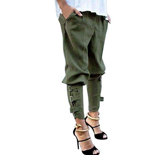 Élastische Poches Mode Confortable Fille Femmes Couleur Unie Ceinture La Printemps Taille Haute Métal Pantalon En Moderne Partie Armeegrün Avant De Élégant Large gqFWz8