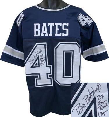 38ab6716ede Image Unavailable. Image not available for. Color: Signed Bill Bates Jersey  - Navy Custom Stitched Pro Style #40 3X Super Bowl Champs