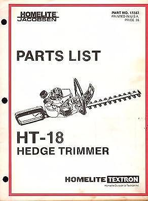 homelite jacobsen hedge trimmer model ht 18 parts manual p n 17883 rh amazon com homelite gas hedge trimmer manual homelite mightylite hedge trimmer manual