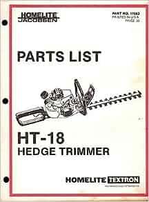HOMELITE JACOBSEN HEDGE TRIMMER MODEL HT-18 PARTS MANUAL P