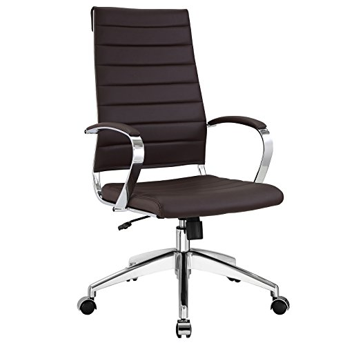 Modway Jive Ribbed High Back Tall Executive Swivel Office Chair With Arms In Brown