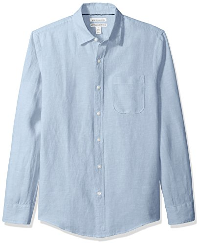 (Amazon Essentials Men's Slim-Fit Long-Sleeve Linen Shirt, Light Blue, Large)