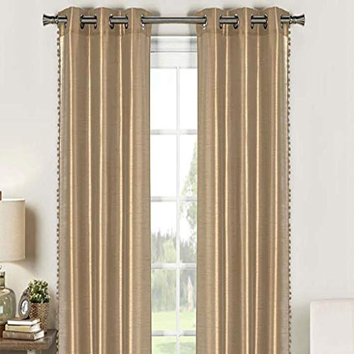 - Duck River Textiles - Home Fashion Solid Faux Silk Grommet Top Window Curtains for Living Room & Bedroom - Assorted Colors - Set of 2 Panels (38 X 84 Inch - Mocha Brown)