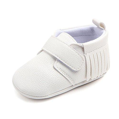 Antheron Infant Moccasins - Unisex Baby Girls Boys Tassels Soft Sole Toddler First Walker Newborn Crib Shoes(White,0-6 Months) - Image 1