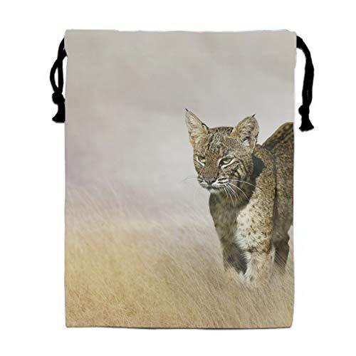 Print Drawstring Backpack Animal Lynx Cats Sack Shoulder Bags Gym ()