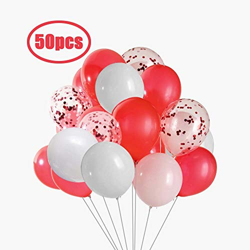 Red White Balloons (Aimto Red and White Balloons White and Red Confetti Balloons,12 Inch-Pack of)