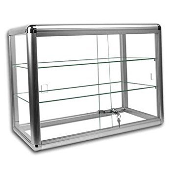 Glass Display Locking Cases - Only Hangers Elegant Silver Anodized Aluminum Display Table Top Tempered Glass Show Case. Sliding Tempered Glass Sliding Doors with Key Lock-