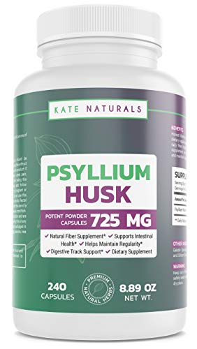 Psyllium Husk 750mg (240 Capsules) - Kate Naturals. Fiber Supplement. Drink Pill with Water for Digestion, Intestinal Health, Regularity, Weight Management. 1-Year Guarantee.
