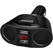 USB Car Charger, Topoint Multiple Ports Phone Car Charger 12V/24V 120W Dual USB Ports 3.1A with 2 Socket Cigarette Lighter Splitter