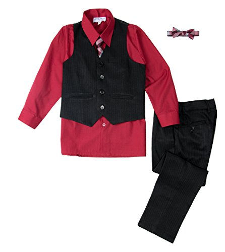 Spring Notion Baby Boys' 5 Piece Pinstripe Vest Set Ruby Red 9M