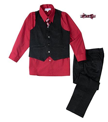 Spring Notion Big Boys' 5 Piece Pinstripe Vest Set Ruby Red 8 ()