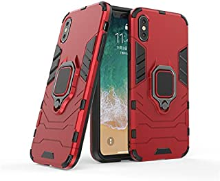Wubaouk iPhone XS Max Case, Hybrid Armor Defender Dual Laye Anti-Scratch Kickstand Shockproof Cover & Magnetic Car Mount Ring Grip