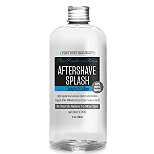 Pure Body Naturals Aftershave Splash with Organic Aloe, Witch Hazel and White Willow, 8 Fl Oz