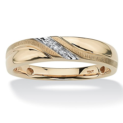 Men's Round White Diamond Accent 10k Yellow Gold Wave Ring Size 12