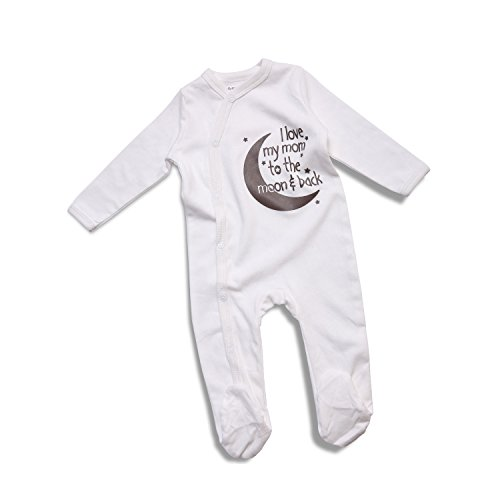 ROMPERINBOX Unisex Baby Long Sleeve Sleeper Pajamas Footie Cap Set (3-6M, I Love My Mom To The Moon & Back)