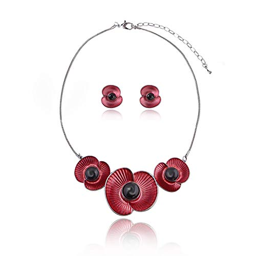 AMYJANE Vintage Statement Jewelry Set - Hematite Plated Hawaii Red Flower Petal Floral Bohemian Boho Statement Necklace Earring Set Crystal Rhinestone Fashion Costume Jewelry for Women