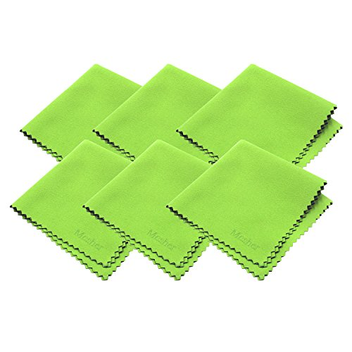 Mcsher Microfiber Cleaning Cloths - 6 Pack, Green, 7.5 x 7.5 Inches (19cm x 19cm)