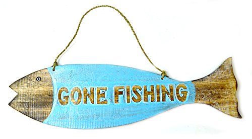 - Hand Carved GONE FISHING SIGN Wooden Fish Wall Hanging Art Tiki Bar