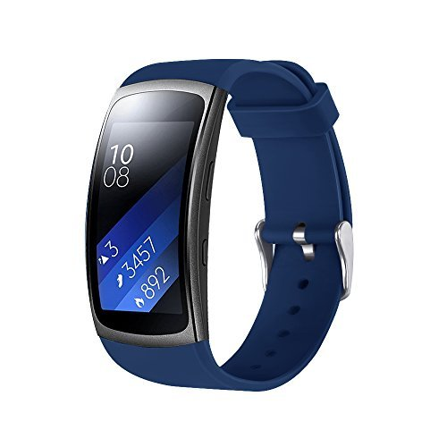 EloBeth for Gear Fit 2 Pro/Gear Fit 2 Band, Smart Watch Elastomer Strap Plastic Wristband for Gear Fit 2 Pro/Gear Fit 2 SM-R360 Fitness Activity Tracker (5.9-7.5) Blue