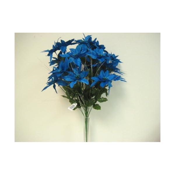 "TURQUOISE Christmas Poinsettia Bush 24 Artificial Silk Flowers 24"" Bouquet 030TQ"