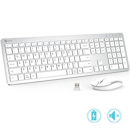 iClever Wireless Keyboard and Mouse - Rechargeable Wireless Keyboard Ergonomic Full Size Design with Number Pad, 2.4G Stable Connection Slim White Keyboard and mouse for Windows, Mac OS, Computer, Lap