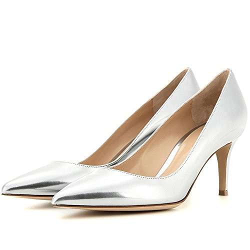 Comfity Kitten Heels For Women, Slip On Heeled Pumps Sexy Pointed Toe Low Heels Dress Party Pumps Silver-patent